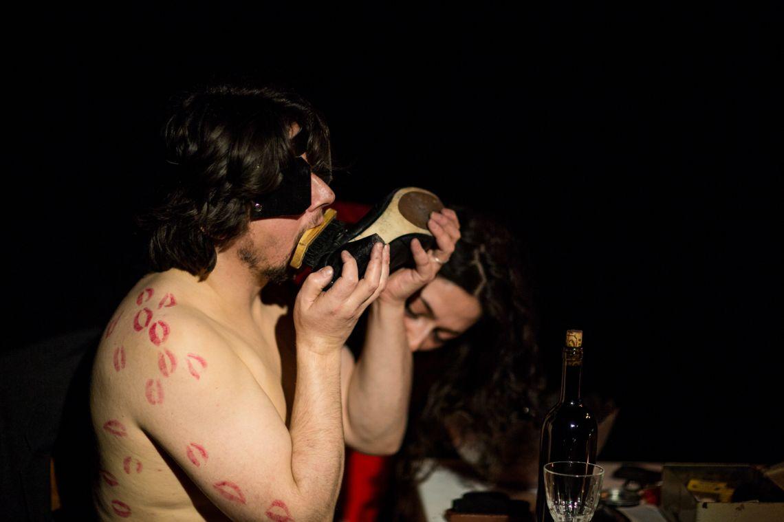 Weeks & Whitford,Wearing the horns series (2012), live durational performance seriesat the VENICE INTERNATIONAL PERFORMANCE ART WEEK 2012. Images © Monika Sobczak.