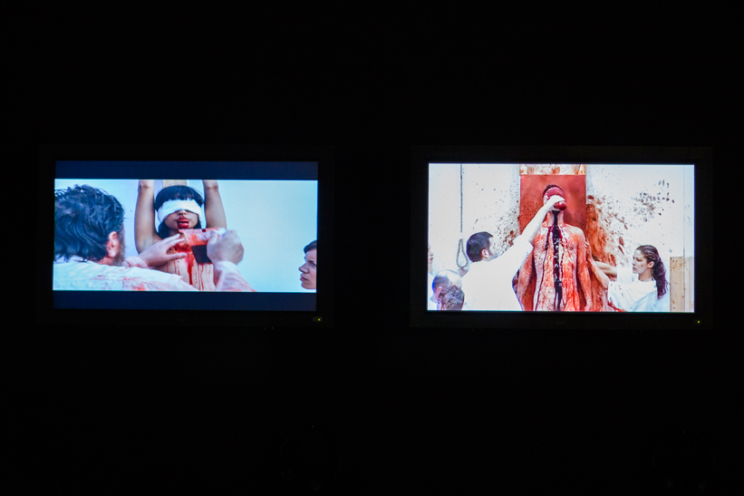 Hermann Nitsch, Exhibition view at the I VENICE INTERNATIONAL PERFORMANCE ART WEEK 2012 of the videos 122. Aktion (2005), The Making Of: Mit Leib und Seelen (2010) and 130. Aktion (2010).