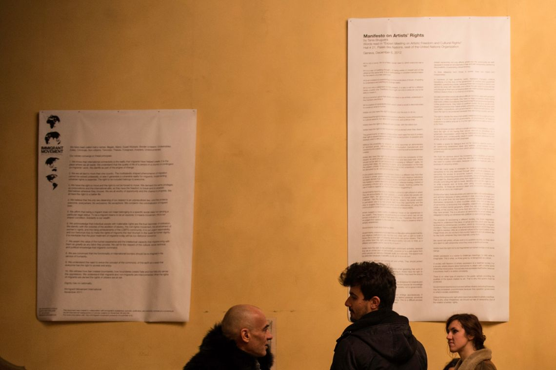 Tania Bruguera, Manifestos. Detail of the exhibition view at the Venice International Performance Art Week (2014). Photograph by Samanta Cinquini.