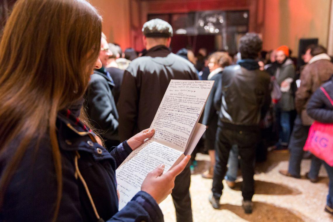 Tania Bruguera, Migrant Manifesto Reading,Venice International Performance Art Week (2014). Photograph by Monika Sobczak.