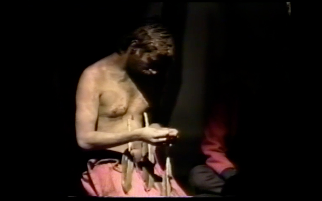 Âhasiw Maskêgon-Iskwêw, White Shame (1992). Video Still. Courtesy of grunt Gallery.