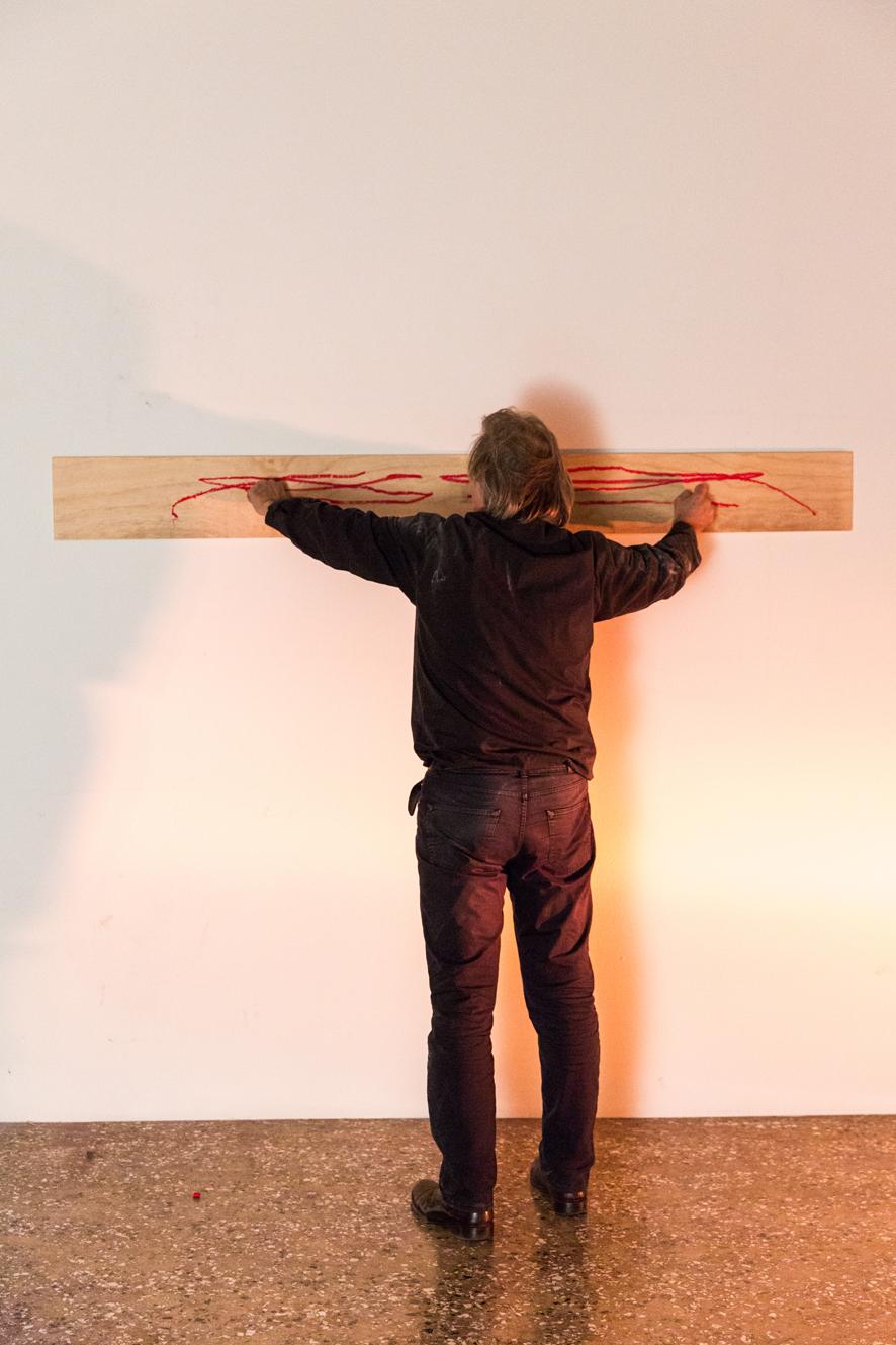 Janusz Baldyga, The Axis of Return. Durational performance at the III Venice International Performance Art Week 2016. Image © Monika Sobczak