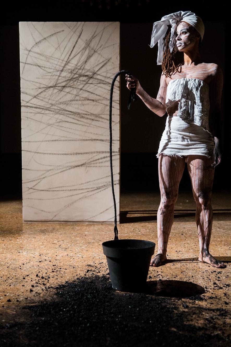 Jeannette Ehlers,Whip it good. Performanceat the III Venice International Performance Art Week 2016. Image © Monika Sobczak