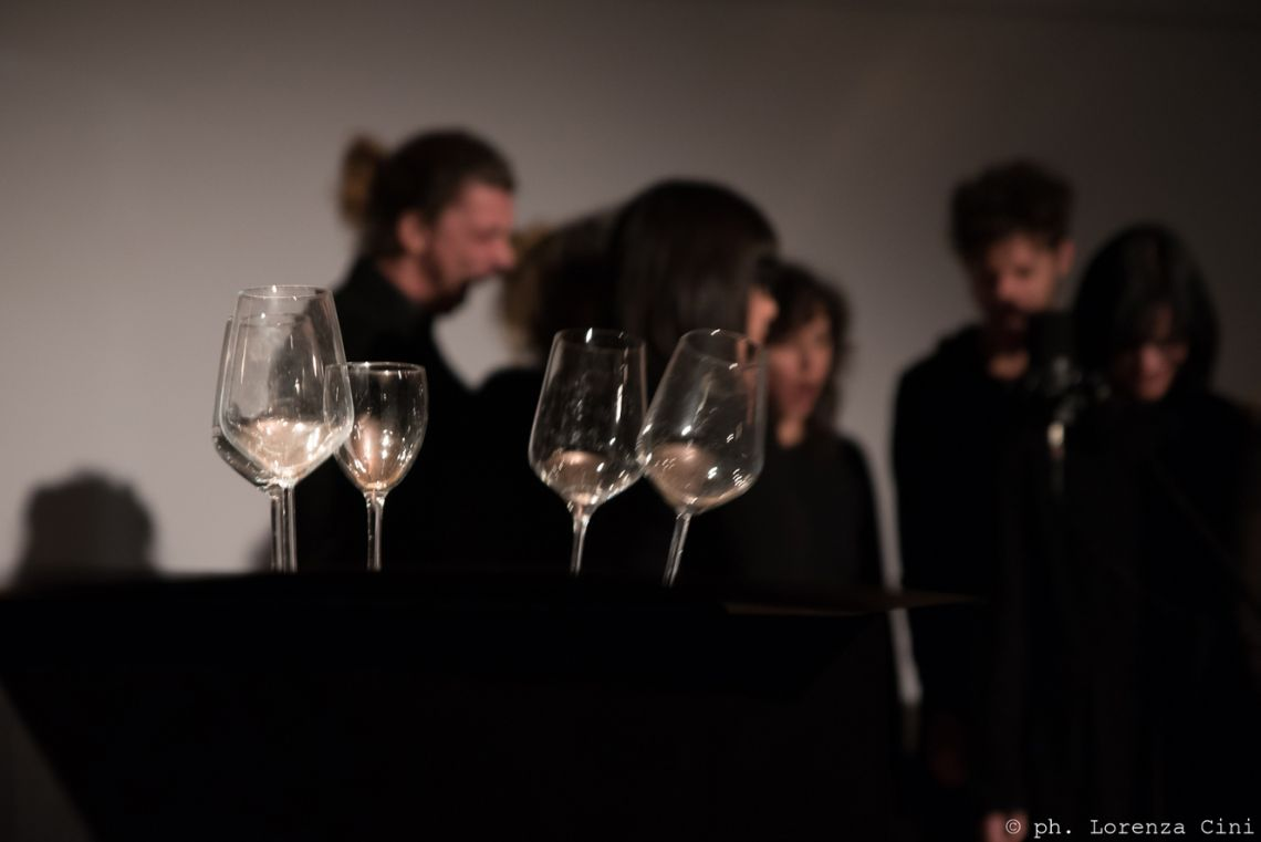 Johann Merrich, Mechanical Vibrations - Act 1 A sonic action for chorus, subwoofers, syntheziser and glasses. Performance at the III Venice International Performance Art Week 2016. Image © Lorenza Cini.