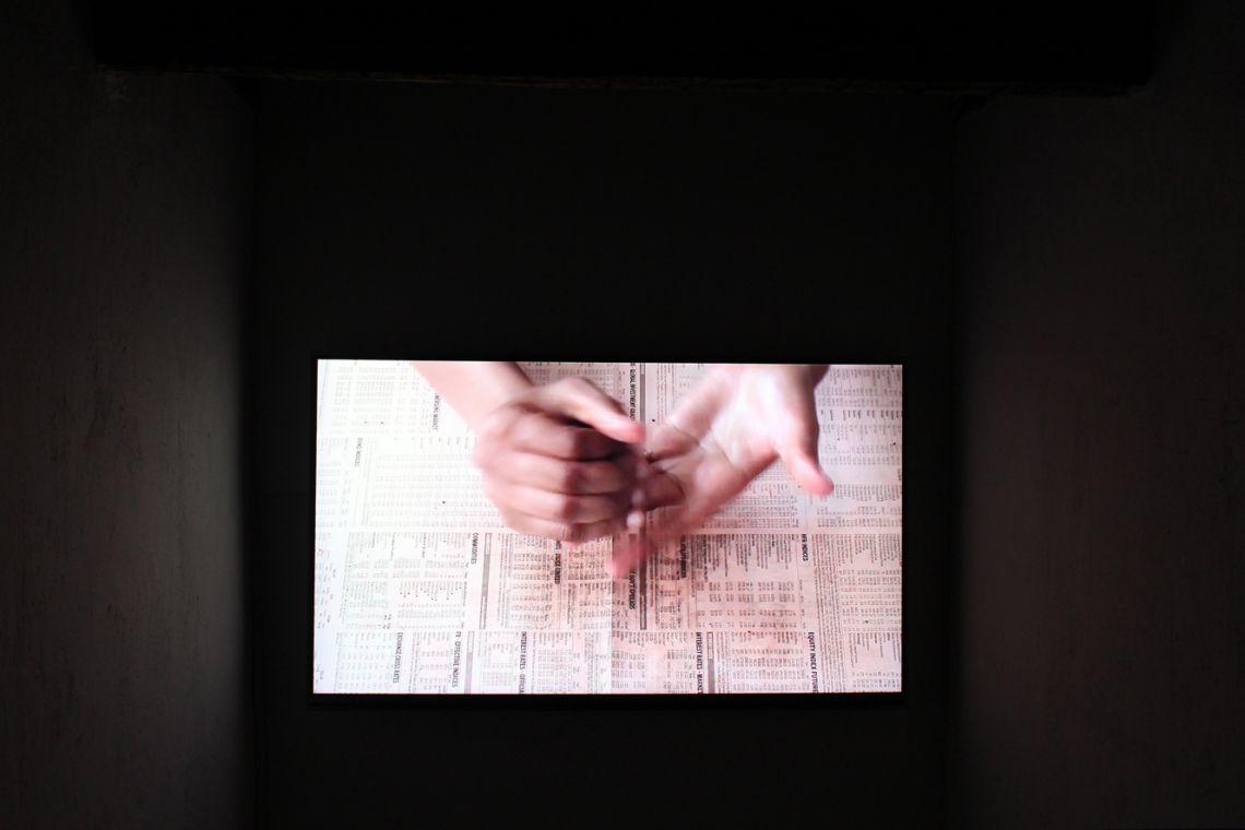Lerato Shadi. Exhibition view of the videoMotlhaba Wa Re Ke Namile(2016) at the III Venice International Performance Art Week 2016. Image © VestAndPage.