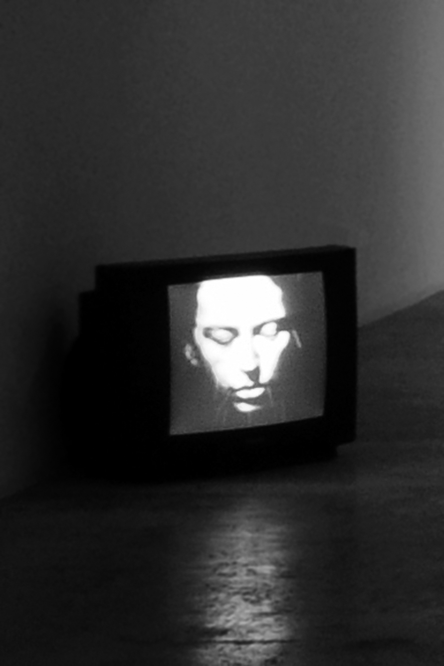 Linda Montano. Exhibition view of the video Mitchell's Death (1977) at the III Venice International Performance Art Week 2016. Photograph by We Exhibit.