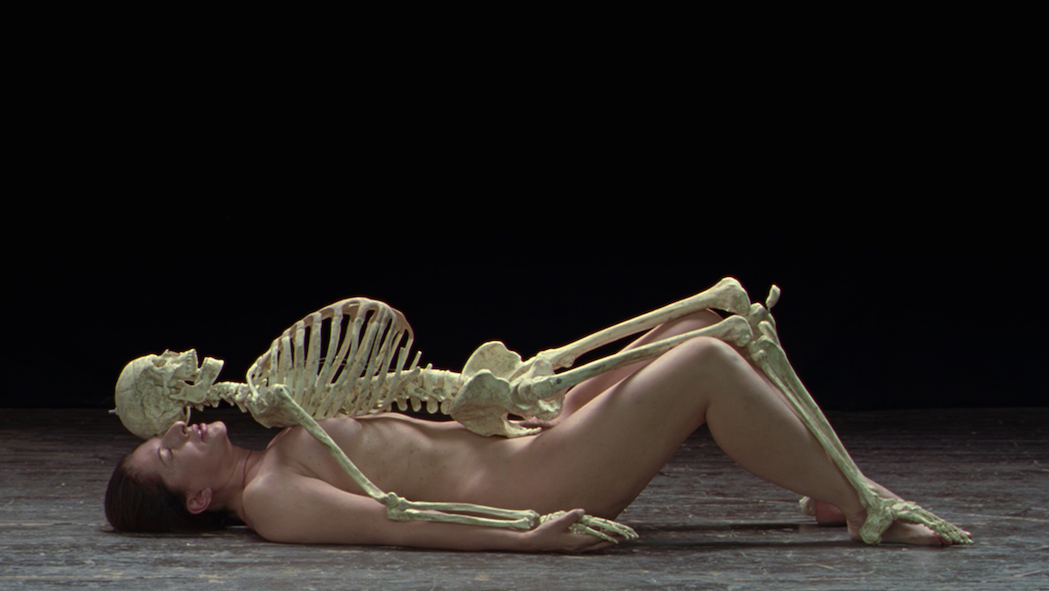 Marina Abramovic, Nude with Skeleton (2005). Still from the video. Courtesy the artist and LIMA.