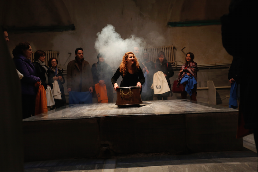 Mary Zygouri, Bath of the Constitution (2015). Still from the video of the performance. Courtesy the artists.