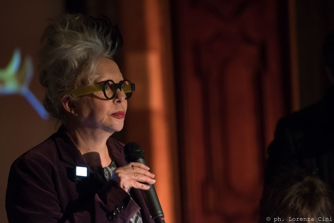 ORLAN presenting her work at the III Venice International Performance Art Week 2016. Image © Lorenza Cini